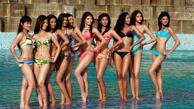 contestants pose after the swimwear round of beauty contest sananda