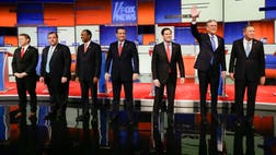 The th GOP debate is underway in Des Moines, Iowa, the state that will hold the first presidential contest on Monday.