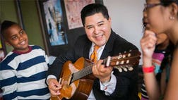 Richard Carranza marked his appointment as new head of Houston schools by singing a mariachi classic at a school board meeting.