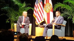 The event, held at Miami Dade College, had been postponed twice before, but that did not temper the enthusiasm among the crowd for Trump's candidacy.