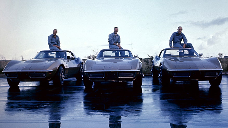 The crew of Apollo 12 and their matching 1969 Corvettes