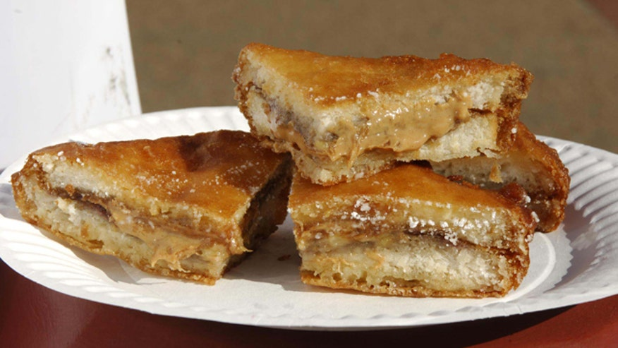 Deep Fried Peanut Butter, Jelly and Banana Sandwiches
