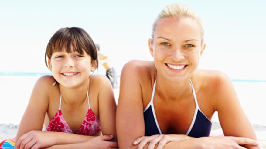 Mother and Daugther on Beach