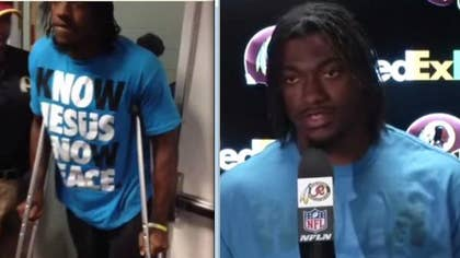 The an agent from the NFL reportedly told Redskins quarterback Robert Griffin III that he could not to wear his Know Jesus, Know Peace t-shirt during a Sunday post-game press conference.