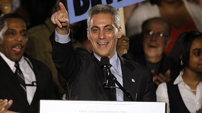Rahm celebrates chicago mayoral win