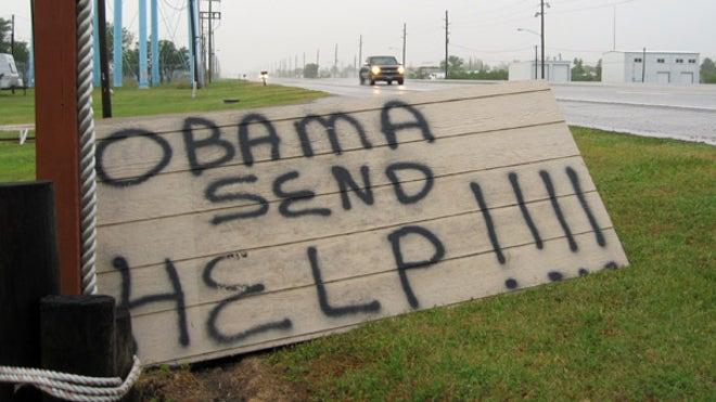 'Obama send help' sign in La.