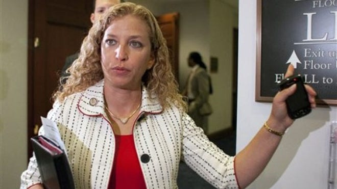 Debbie Wasserman-Schultz speaks to reporters following a Democratic Caucus on Capitol Hill.