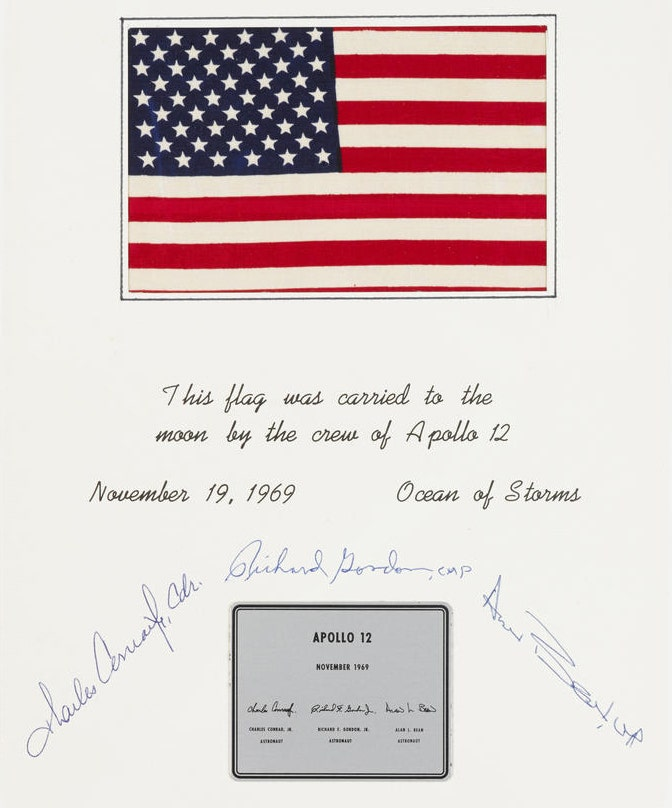 United States flag carried to the moon on Apollo 12