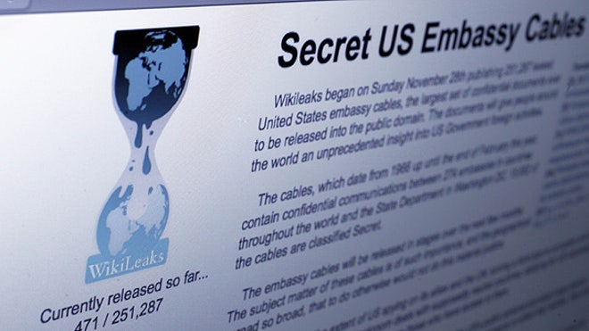 WikiLeaks homepage photo