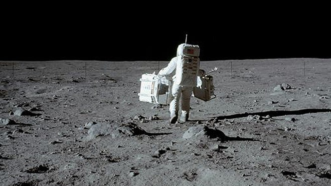 Buzz Aldrin Collects Rocks