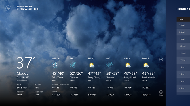 Windows 8 Consumer Preview Weather App