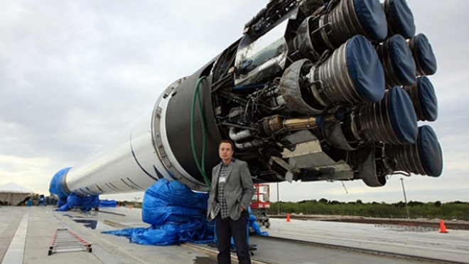 Elon Musk with Falcon Heavy