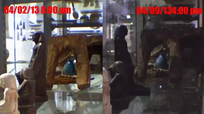 Mummy statue locked in display case starts spinning