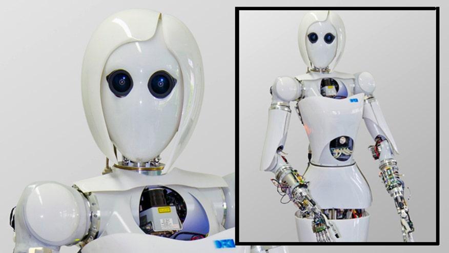 New female humanoid robot car tuning