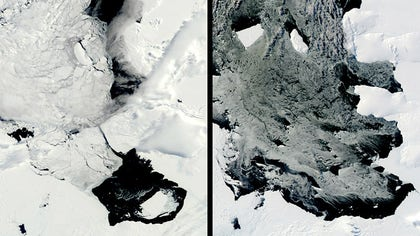 Scientists are watching an iceberg bigger than the island of Guam as it slowly moves away from an Antarctic glacier.