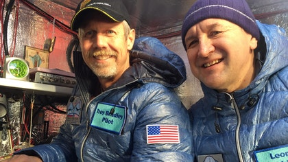 An audacious, nearly ,-mile-long trip across the Pacific Ocean came to an end Saturday as two accomplished pilots safely touched down in the water just off the coast of Mexico in their helium-filled balloon after shattering two long-standing records.