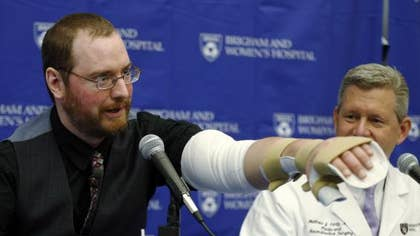 A -year-old quadruple amputee on Tuesday thanked the Boston surgeons who performed a rare dual arm transplant on him last month and described the experience of getting the new limbs as surreal.