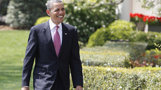 Obama Walks on South Portico of White House AP