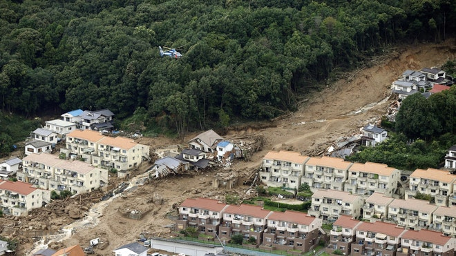 Rain-sodden slopes collapsed in torrents of mud, rock and debris Wednesday in the outskirts of Hiroshima city, killing at least  people and leaving seven missing, Japanese police said.