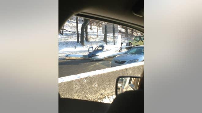 NY Plane Lands on Expressway.JPG