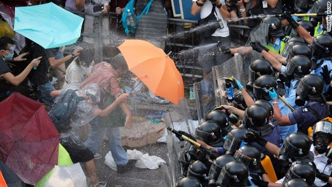 The generally tame Hong Kong is seen as financial hub rather than a hotbed of protest.