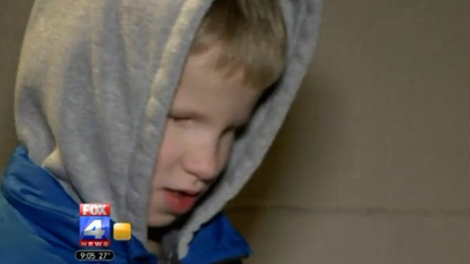 An -year-old Kansas City boy who was born without eyes was given a pool noodle to hold instead of his cane for punishment for hitting a fellow student on a bus with his walking stick, FoxKC.com reported.