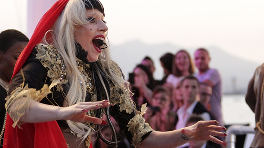 Lady Gaga Performs in Cannes AP