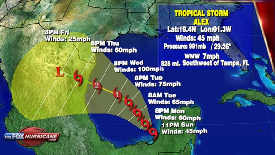 TS Alex trajectory in Gulf