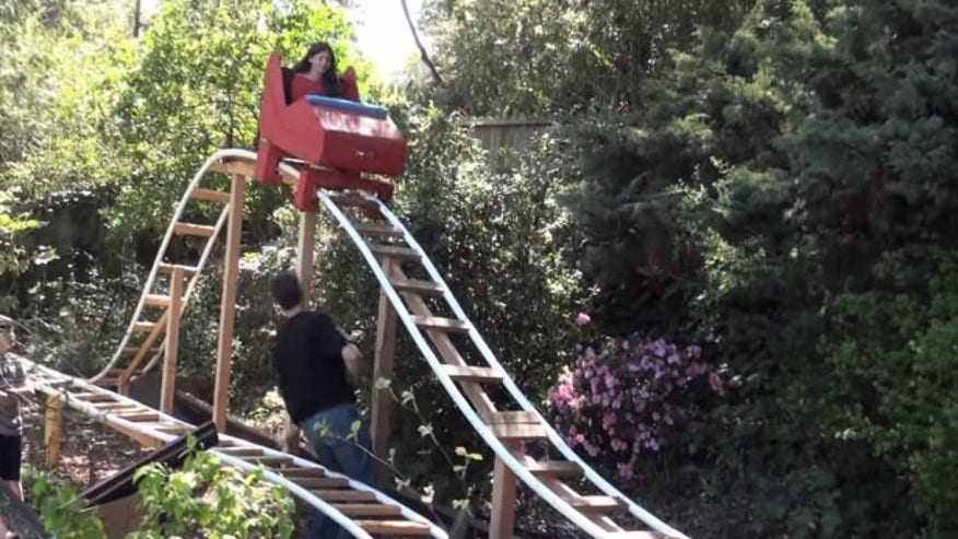 Dad built a DIY roller coaster in his backyard