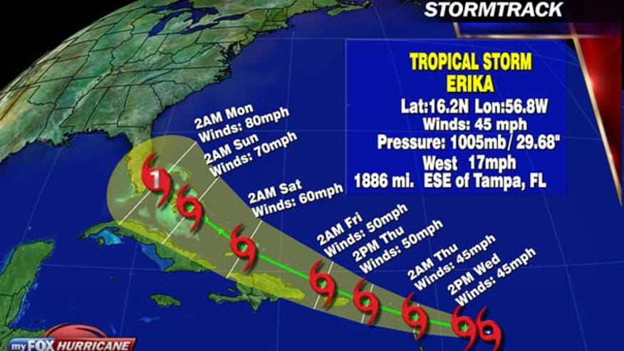 Tropical storm Erika could impact Florida this weekend