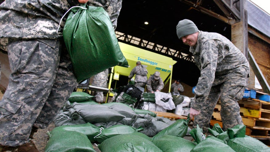 Sandbags filled in Mass.