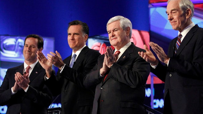 Republicans Debate Romney Gingrich Paul Santorum