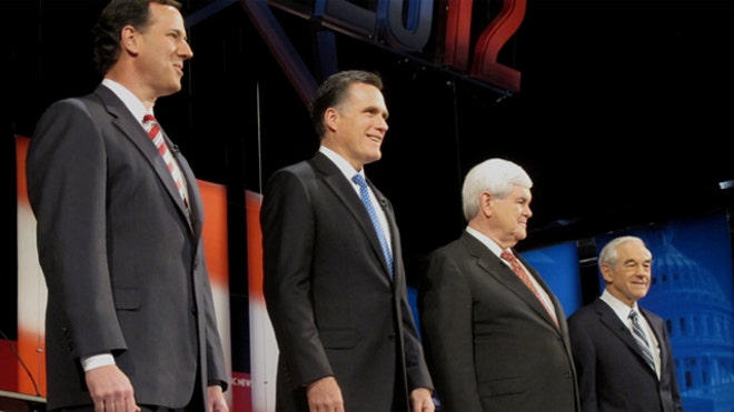 Santorum Romney Gingrich Paul debate Jan 23