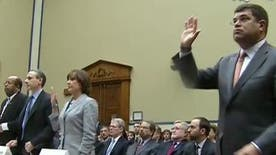 FBN's Rich Edson on Deputy Treasury Secretary Wolin stepping away from the camera during the swearing in of witnesses.