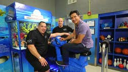 Mario Lopez visited the Boys and Girls Club in San Gabriel Valley to reveal an exotic new custom fish tank he designed.