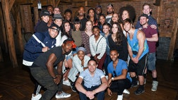 The Tony Award-winning smash musical on Tuesday night welcomed the U.S. women's gymnastics team — Simone Biles, Aly Raisman, Gabby Douglas, Madison Kocian and Laurie Hernandez — who gave the show a standing ovation and greeted the cast onstage afterward at the Richard Rodgers Theatre.