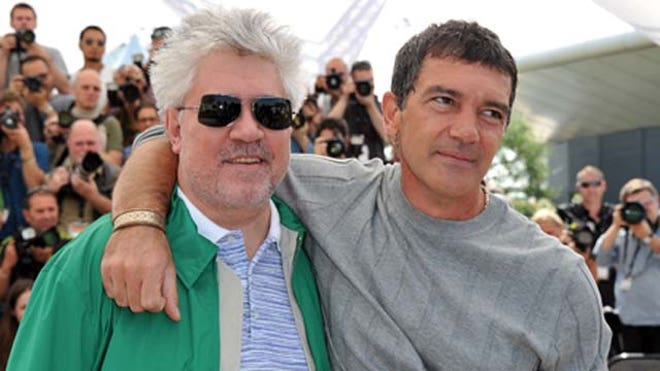Antonio Banderas Stands with Pedro Almodovar.JPG