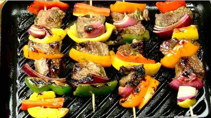 "Start off by thinking outside the world of meats and try adding some vegetables to ""beef up"" the grill."
