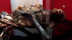 The mummified body found in June  on Pico de Orizaba, Mexico's highest mountain, is currently on display in a museum in the central city of Ciudad Serdan.