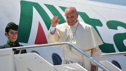 The world is at war, but it is not a war of religions, Pope Francis said Wednesday as he traveled to Poland on his first visit to Central and Eastern Europe in the shadow of the slaying of a priest in France.