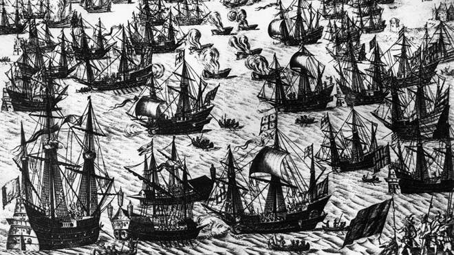 August 1588, A Dutch engraving depicting English fire ships amongst the warships of the Spanish Armada on 7th and 8th August 1588. The Spanish fleet was at anchor and was forced to cut anchor cables and scatter.  Read more: http://latino.foxnews.com/latino/lifestyle/2013/06/05/wreck-two-17th-century-spanish-war-ships-found-off-peruvian-coast/#ixzz2WuRTaZAN