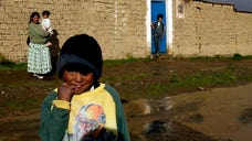 About  people, most of them children but including  teachers, were poisoned at breakfast in a school in the northern Bolivian city of Cobija, which borders on Brazil, medical authorities said Thursday.
