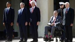 Todos los presidentes vivos de los Estados Unidos asistieron a la inauguración de la biblioteca de George W. Bush en Dallas, Texas. La impactante imagen de los Bush, republicanos, con Barack Obama, Bill Clinton y Jimmy Carter, demócratas, a la misma hora y en el mismo sitio, es inusual en otras latitudes, acaso como el virtual epígrafe: la presidencia está más allá de las diferencias políticas. En América latina, Evo Morales reunió a la mayoría de los presidentes bolivianos pretéritos con el fin de reclamar a Chile la salida al mar el de Uruguay, José Mujica, estuvo con sus predecesores al cumplirse  años del retorno de la democracia en la sede del opositor Partido Colorado, y no mucho más.