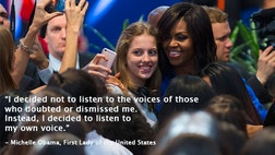 At a school in the Barracas section of Buenos Aires, Argentina, the First Lady of the United States, Michelle Obama implored teenage girls all over the world to stay in school, to become leaders and to listen to their own voices.