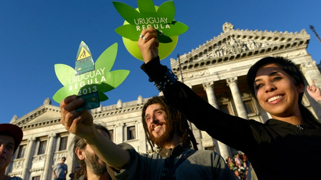 Supporters of Uruguay's legalization initiative