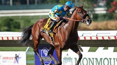 When Victor Espinoza asked, the majestic American Pharoah delivered an encore performance in his first race since winning the Triple Crown.