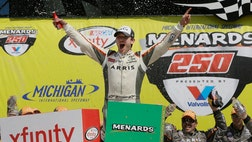The racecar driver can afford to smile, having won the  Menards  last Saturday, becoming the first Mexican-born driver to win a race in one of NASCAR's national circuits.