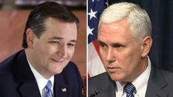 The endorsement from Pence comes as Cruz is locked in a close battle for Indiana's  delegates with Republican front-runner Donald Trump.