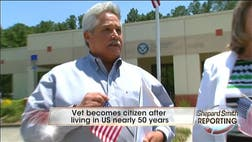 After decades of serving the country, Mario Hernandez finally was sworn in as a U.S. citizen he's always been adamantly proud to be, albeit mistakenly.
