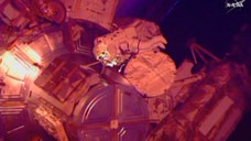Spacewalking astronauts ventured out for the third time in just over a week Sunday to complete an extensive, tricky cable job at the International Space Station.